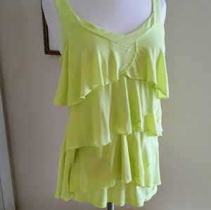 New York & Company lemon yellow ruffle tank